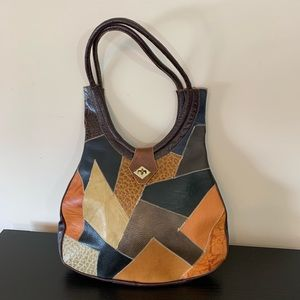 Vintage Leather Patchwork Boho Hobo Bag